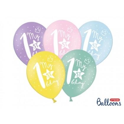 "Balionai stiprūs   30cm 6vnt ""1st birthday"""
