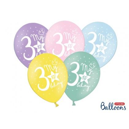 """Balionai stiprūs   30cm 6vnt """"3rd birthday"""""""