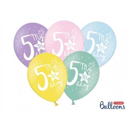 "Balionai stiprūs   30cm 6vnt ""5th birthday"""