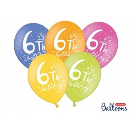 "Balionai stiprūs   30cm 6vnt ""6th birthday"""