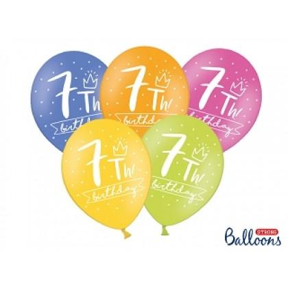 "Balionai stiprūs   30cm 6vnt ""7th birthday"""