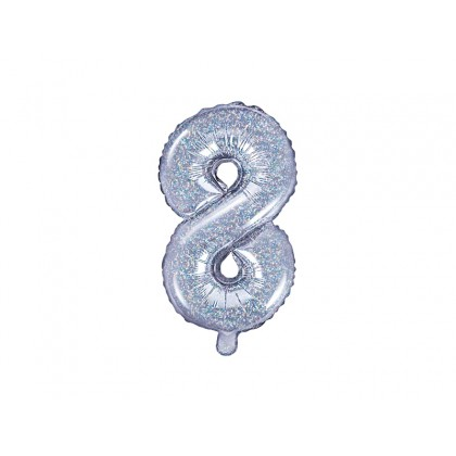 Balionas folinis skaičius 8 sidabrinis blizgantis 35cm