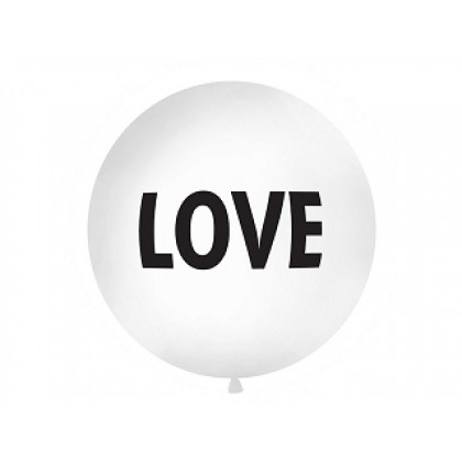 "Balionas 1m skersmens baltas "" Love """
