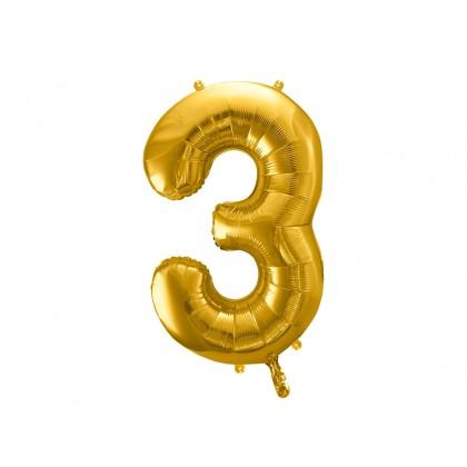 Balionas folinis skaičius 3 auksinis 86 cm