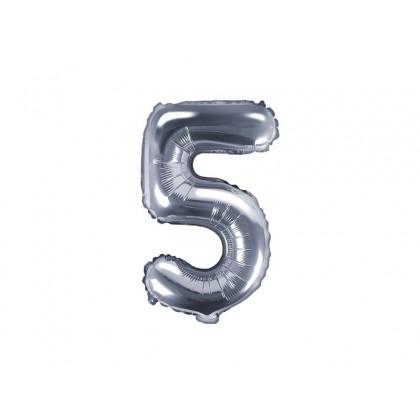Balionas folinis skaičius 5 sidabrinis 35cm