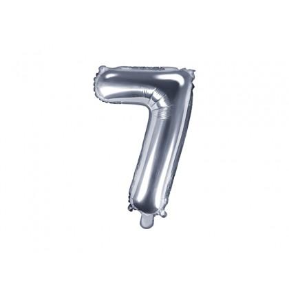 Balionas folinis skaičius 7 sidabrinis 35cm