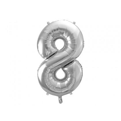 Balionas folinis skaičius 8 sidabrinis 86 cm
