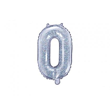 Balionas folinis skaičius 0 sidabrinis blizgantis 35cm