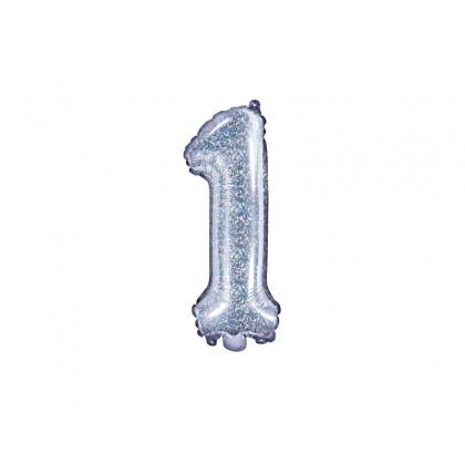 Balionas folinis skaičius 1 sidabrinis blizgantis 35cm
