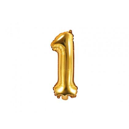 Balionas folinis skaičius 1 auksinis 35cm
