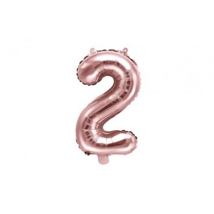 Balionas folinis skaičius 2 šviesiai rožinis 35cm