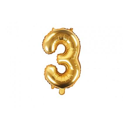 Balionas folinis skaičius 3 auksinis 35cm