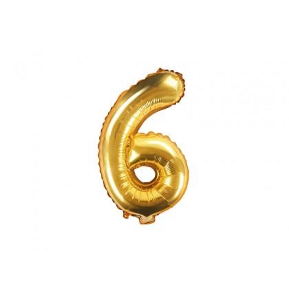 Balionas folinis skaičius 6 auksinis 35cm