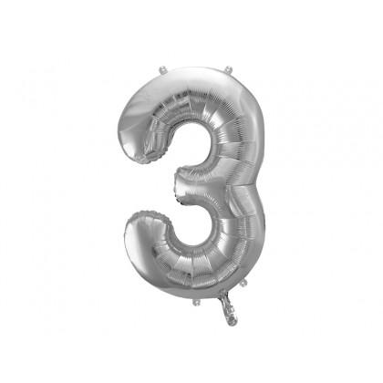 Balionas folinis skaičius 3 sidabrinis 86 cm