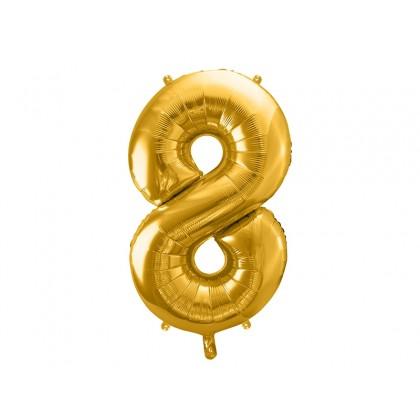Balionas folinis skaičius 8 auksinis 86 cm