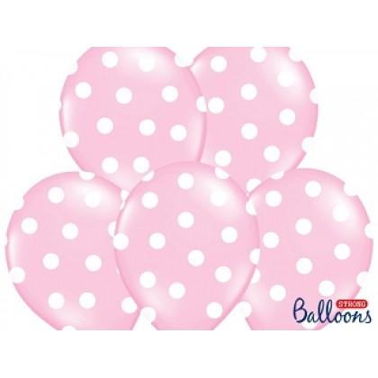 Balionai stiprūs margi 30cm 6vnt  rožiniai b