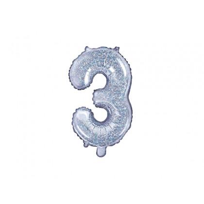 Balionas folinis skaičius 3 sidabrinis blizgantis 35cm