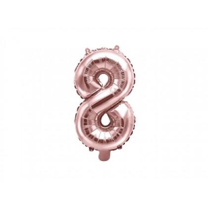 Balionas folinis skaičius 8 šviesiai rožinis 35cm