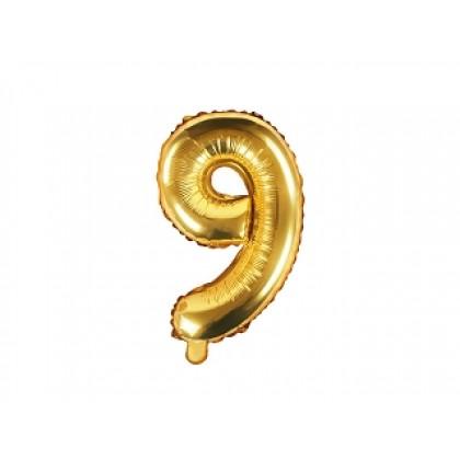 Balionas folinis skaičius 9 auksinis 35cm