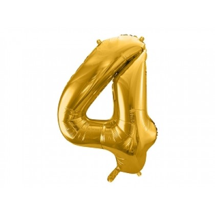 Balionas folinis skaičius 4 auksinis 86 cm