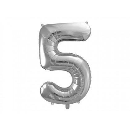 Balionas folinis skaičius 5 sidabrinis 86 cm