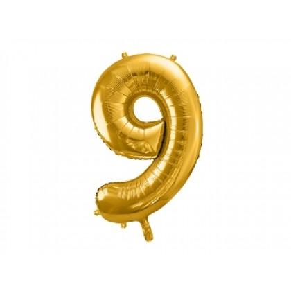 Balionas folinis skaičius 9 auksinis 86 cm