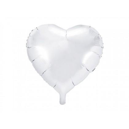 """Balionas folinis """"Širdelė""""baltas 45cm"""