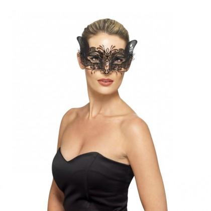 Venecijos kaukė juoda metalinė