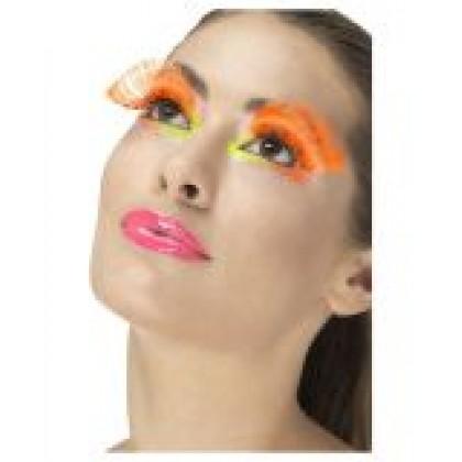 80 ųjų disco  blakstienos oranžinės su taškiukais